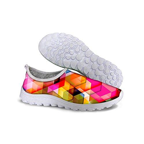 Per Te Disegni Stile Moda Mosaico A Righe Donna Mesh Traspirante Leggero Da Passeggio Scarpe Da Passeggio Multi 5