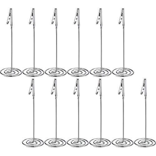 Shappy 12 Packs Table Number Card Holders with Alligator Clip Photo Memo Holder Clips for Wedding Party Favor (Silvery)