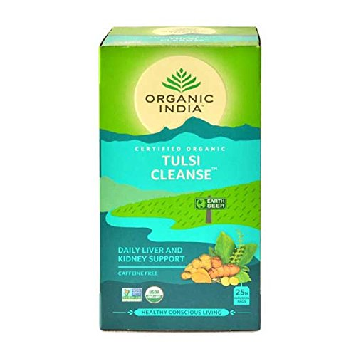 Organic India - Tulsi Cleanse - Loose Tea Bags, USDA Certified Organic, Caffeine Free - 25 Tea Bags / Pack of 3 (Tulsi Cleanse Daily Liver & Kidney Support)
