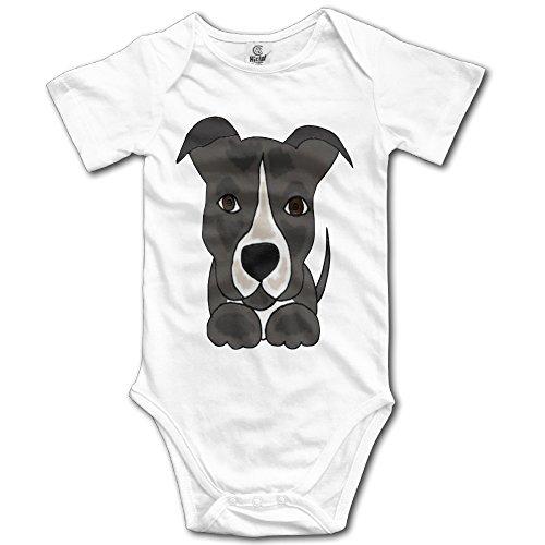 ROWWEN Cute Grey Pitbull Puppy Dog Unisex Boys Girls Sleepwear Baby Onesies -