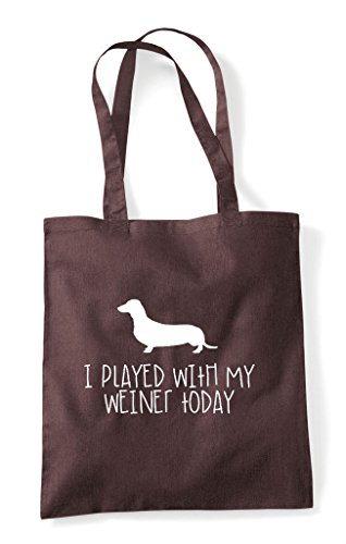 My Dog Weiner I Tote Funny Bag Shopper Sausage Played Parody With Today Brown q4nY1E