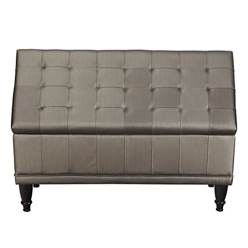 Asense Fabric Rectangle Lift-Top Storage Ottoman Bench, Faux Linen Fabric Line, Footstool with Solid Wood Legs (Medium Gray)