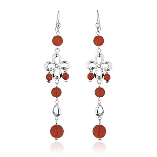 Earrings Carnelian Dangle Flower - 925 Sterling Silver Infinity Flower Red Carnelian Gemstone Spheres Long Dangle Earrings