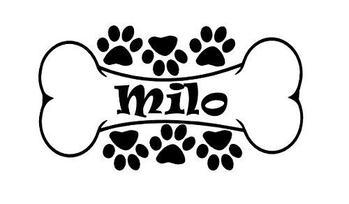 Personalized (W21) Name Dog Bone Vinyl Decal Sticker for Wall Custom Arts & Crafts/Mission Black and - Dog Name Sticker Decal