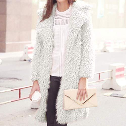 Fashion Larga Outerwear Unicolor Blanco Abrigos Piel De Termica Elegantes Sintética Espesor Polares Chaqueta Retro Piel Suave Otoño Largos Manga Chaqueta Adelina De Mujer Solapa Invierno wxtnq0wgP