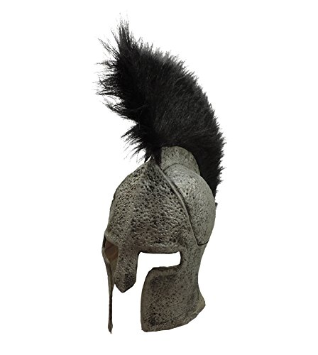 [Greek Spartan Warrior Latex Costume Helmet w/ Standing Black Faux Fur Crest] (Trojan Halloween Costumes)