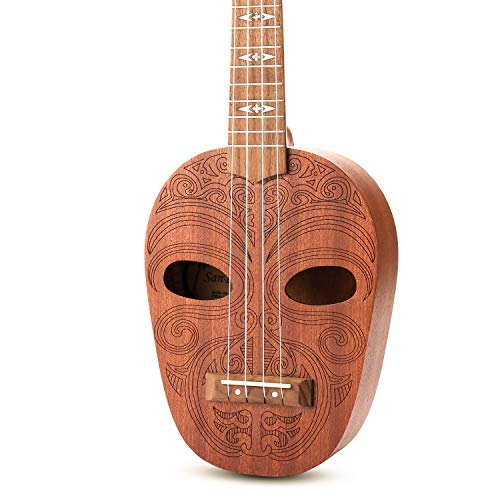 SanDona Soprano Ukulele 21 Inch Kit ET-1   Hawaiian Carved 2 Sound Holes, Brighter Sustain, Sapele   Complete Set with…