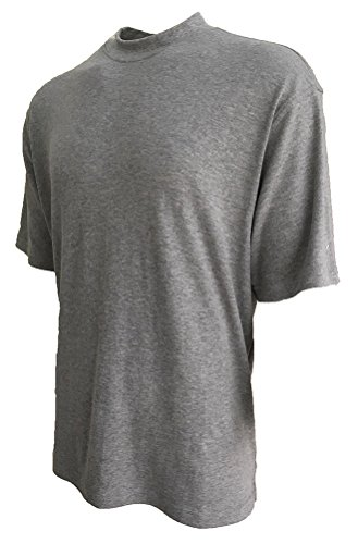 Good Life Brand 100% Cotton Mock Turtleneck Shirt Short Sleeved Pre-Shrunk 4 Colors (Medium, Heather Grey Melange)
