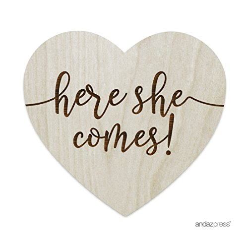 Andaz Press Laser Engraved Large Wood Wedding Ceremony Aisle Sign, Here She Comes!, Heart Shape, 1-Pack, Flower Girl Signage, Photo Booth Bridal Shower Prop Decorations
