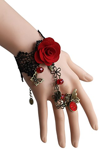 Victorian Age Halloween Costumes (Eternity J. Vintage Rose Gothic Retro Lace Slave Bracelet With Ring Victorian Costume Jewelry (Bracelet-red flower))