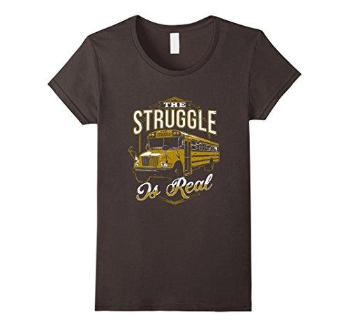 (Women's The Struggle Bus Is Real T-Shirt Large Asphalt)
