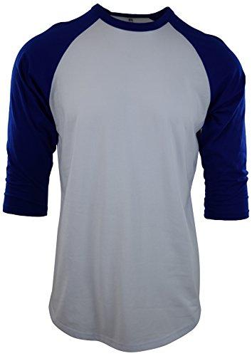 ChoiceApparel Mens Raglan 3/4 Sleeve Baseball T Shirts (XL, White/Royal)