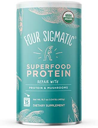 Four Sigmatic Superfood Protein, Organic Plant-Based Protein with Chaga Mushroom Ashwagandha, Supports Immune Function Muscle Repair, Blends Smoothly Unflavored, 16.7 oz