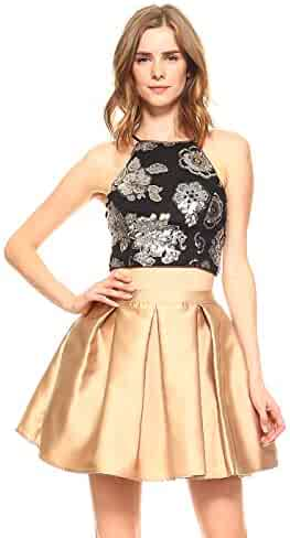 93704b6032b Teeze Me Two-Piece Halter Floral Sequin Mesh Crop Top Pleated Party Skirt  Dress