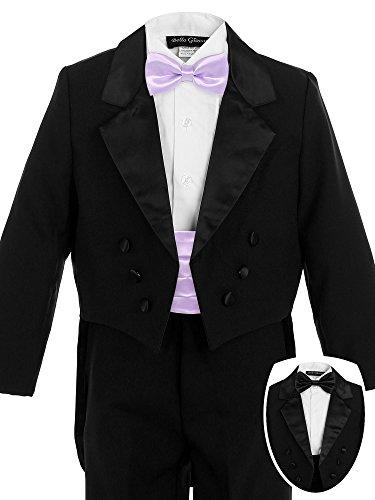 Lilac Cummerbund (Bello Giovane Boys Black Penguin Tuxedo with Colored Cummerbund 7 Piece Set (4T, Lilac))