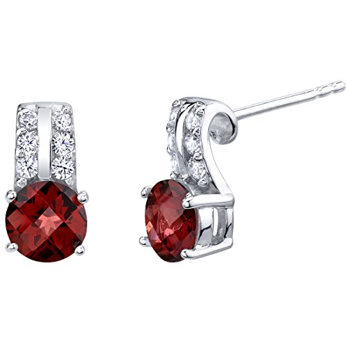 Garnet Sterling Silver Arc Stud Earrings 2.00 Carats Total (Ring Garnet Raspberry)