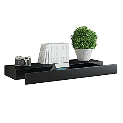 Fasthomegoods WALLNITURE Wall Mountable Floating Shelf with Drawer White - HIGH QUALITY ~ Made of MDF wood & laminate, you know you're getting a high quality, long lasting product. BE CLASSY ~ This shelf looks amazing in any room, complimenting your home décor and displaying your life proudly. BE CLASSY ~ This shelf looks amazing in any room, complimenting your home décor and displaying your life proudly. - wall-shelves, living-room-furniture, living-room - 41QRxXDLdKL. SS400  -