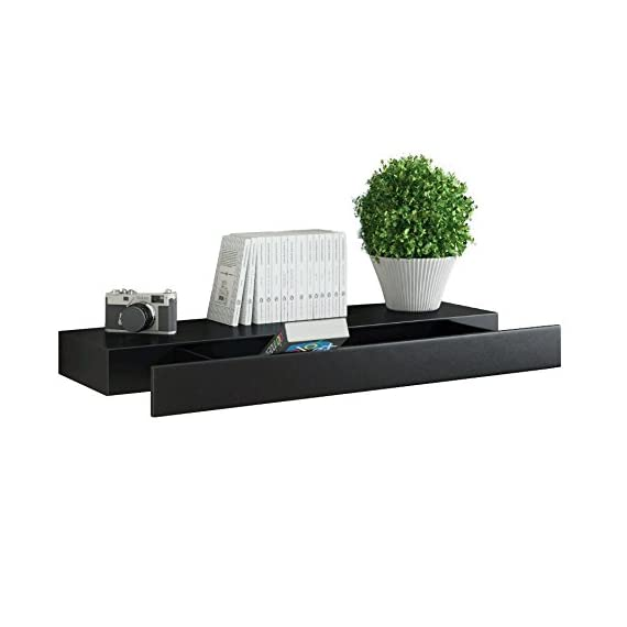 Fasthomegoods WALLNITURE Wall Mountable Floating Shelf with Drawer Black - HIGH QUALITY ~ Made of MDF wood & laminate, you know you're getting a high quality, long lasting product. BE CLASSY ~ This shelf looks amazing in any room, complimenting your home décor and displaying your life proudly. BE CLASSY ~ This shelf looks amazing in any room, complimenting your home décor and displaying your life proudly. - wall-shelves, living-room-furniture, living-room - 41QRxXDLdKL. SS570  -