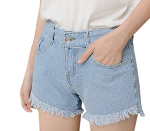 Denim Vita Moda Pantaloni Con Jeans Alta Frange Casual A Corto Donna Pantaloncini Pants Azzurro Hot qw7gtxB
