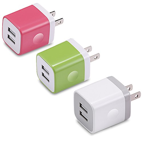 USINFLY USB Wall Charger, 3-Pack 2.1A/5V Dual Port USB Plug Charger Block Power Adapter Charging Cube Compatible with iPhone 8/7/6S Plus, X Xs Max XR, Samsung, Android, and More