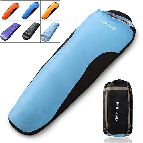 FARLAND Mummy Sleeping Bags for Adults Teens - 20 Degrees ℉- 4 Season - Lightweight Portable Waterproof Perfect for Outdoor Traveling,Hiking Activities