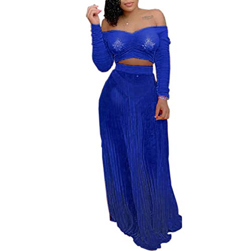Women's Sexy Two Pieces Outfits See Through Mesh Off Shoulder Crop Top Maxi Skirt Set Party Club Dress Blue S