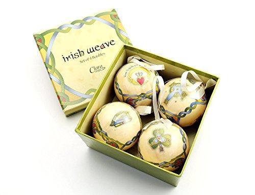 Royal Tara Irish Christmas Ornaments - Globe Baubles - Boxed Set of 4 ()