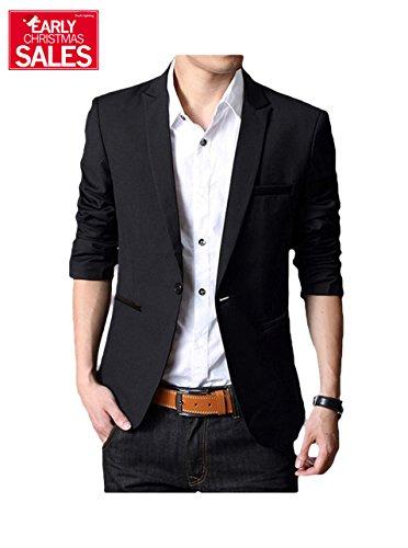 Men's Casual Dress Suit Slim Fit Stylish Blazer Coats Jackets Black US Medium/Label XXX-Large