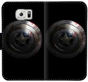 Caja del cuero de Capitán América Shieldzf P7S0P Funda Samsung Galaxy S6 Edge Plus funda 1fw3Lb diseño de plástico Funda caso del tirón