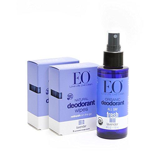 EO Organic Aluminum Free Deodorant Spray and Wipes Combo Pack, Lavender, 3 (Alcohol Free Deodorant Spray)