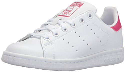 adidas Originals Girls' Stan Smith J Skate Shoe, White/White/Bold Pink, 5.5 M US Big Kid