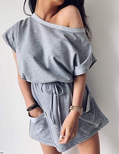 Women's Casual Loose Front Tie One Shoulder Side Split Jumper Mini Dress with Pocket
