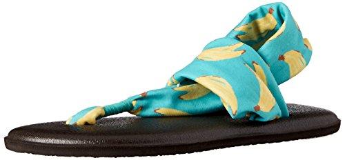 Sanuk Kids Yoga Sling Burst Prints Flip Flop , Turquoise Bananas, 2/3 M US Little Kid