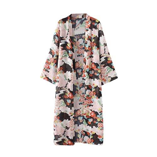 Femme Manteau en Tricot Bouffant Printemps Automne Vtements Kimono Chemise Robe Impression Modle Manches Longues Mousseline Basic Longues Vtements D'Extrieur De Haute Qualit Blouse Mehrfarbig