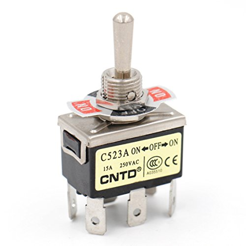 Baomain Toggle switch DPDT ON/OFF/ON 3 position 250VAC 15A 1/2