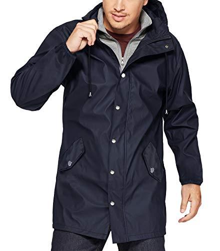 URRU Men's Cotton Zip Up Hooded Jacket Windbreaker Parka Hoodie Jacket Drawstring Navy Blue XL