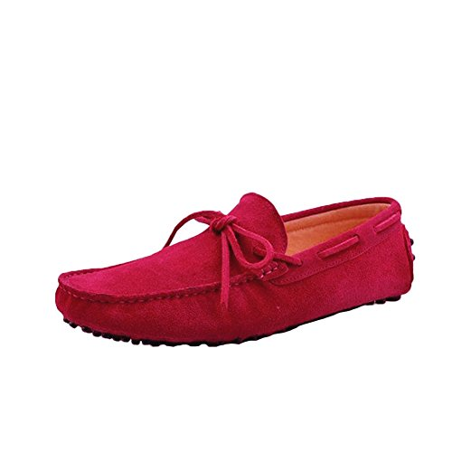Santimon Men's Suede Leather Driving Walking Moccasins Loafer Lace Shoes Red 9yeZTCzRvE