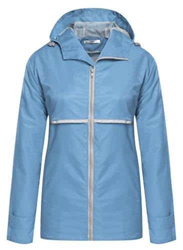 Meaneor Women Front-Zip Hooded Waterproof Outdoor Rain Reflective Stripe Jacket Sky Blue XXXL (Mesh Sky Jacket Blue)