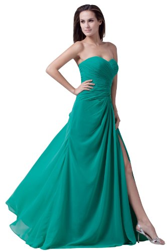 Graceful Strapless Chiffon Goddess Long Gown Prom Dress Formal Bridesmaid 4465 20W Green