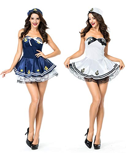 POP Style Sexy Sailor Halloween Costume Womens Strapless Sailor Dress with Hat (Blue)