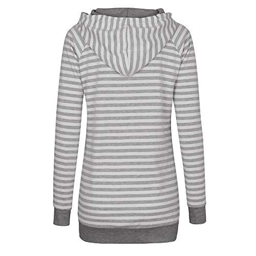 Sweat Rayures Chemisier Beikoard Longues Col Shirt Femme T Capuche Bule Gray et à Blouse à Stripe Sweat Capuche Sweat Manches à Shirt Rond à 0adaqA