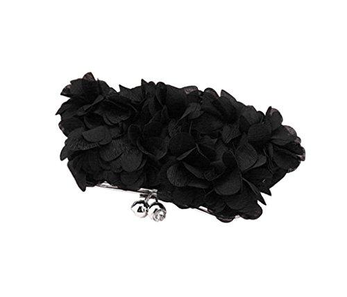 Heyjewels mariage main Noir petale de pour sac Pochette en Nouveau soiree a multicolore satin PIqPrFw