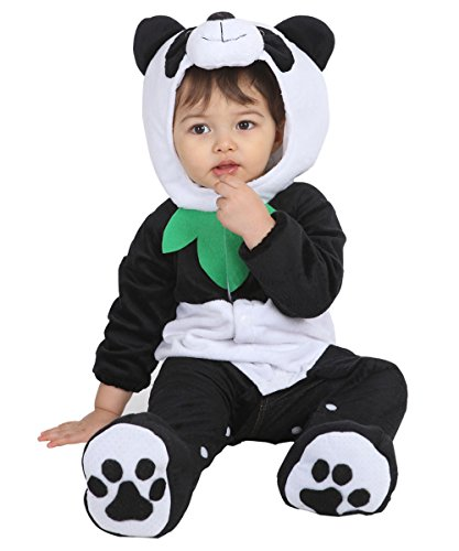 Baby Halloween Panda Bear Costume For Baby Boys And Girls - 12 to 18 Months - Perfect Cosplay & Theme Party Dress Up Outfit (Girls Panda Halloween Costume)