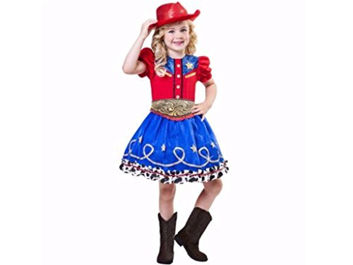 Girls Cowgirl Cutie Costumes (Girls Cowgirl Cutie Halloween Costume Includes Dress, Hat and Belt, Size Large 10-12)