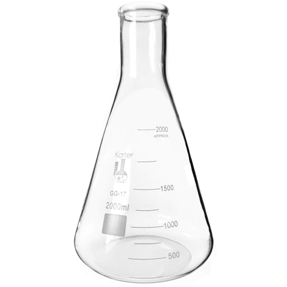 2000ml Narrow Mouth Erlenmeyer Flask, 3.3 Borosilicate Glass, Karter Scientific 213G15 (Single)