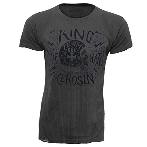 King Kerosin Herren Rockabilly Biker T-Shirt Motorradhelm - Team 666 Dunkelgrau bis 3XL