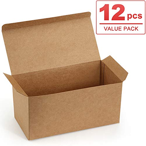 ValBox Premium Gift Boxes 9x4.5x4.5 Inches 12 Pack Brown Recycled Paper Boxes Kraft Favor Boxes for Party, Wedding, Thanksgiving, Gift, Crafting, Cupcake, Easy Assemble ()