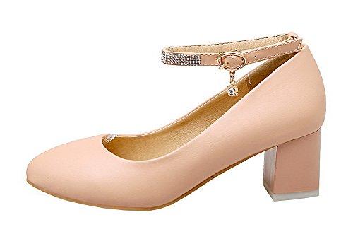 Solid Shoes Pumps Round Buckle PU Heels AllhqFashion Closed Toe Women's Pink Kitten WYnxwTzvf4