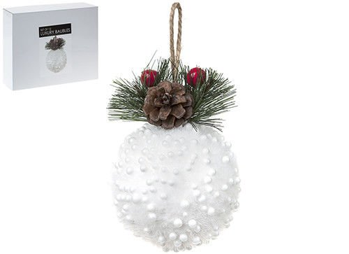 Set Of 12 Luxury Christmas Baubles - White Snowy Baubles With Fir Tree Top -