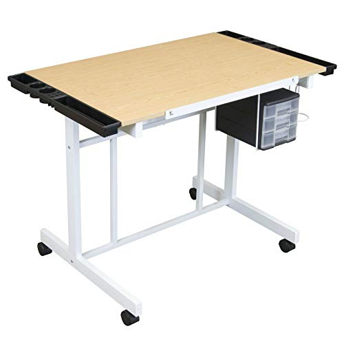 (White & Maple Adjustable Angle Crafts Drawing Desk Arts Drafting Table w/Plastic Drawer & Side Trays with Ebook)